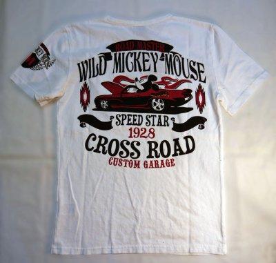 画像1: LOWBLOW KNUCKLE × Mickey Mouse コラボTシャツ WILD MICKY [ CROSS ROAD ]
