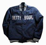 画像2: BETTY BOOP × LOWBLOW KNUCKLE  コラボ  ナイロン スタジャン ネイビー (2)