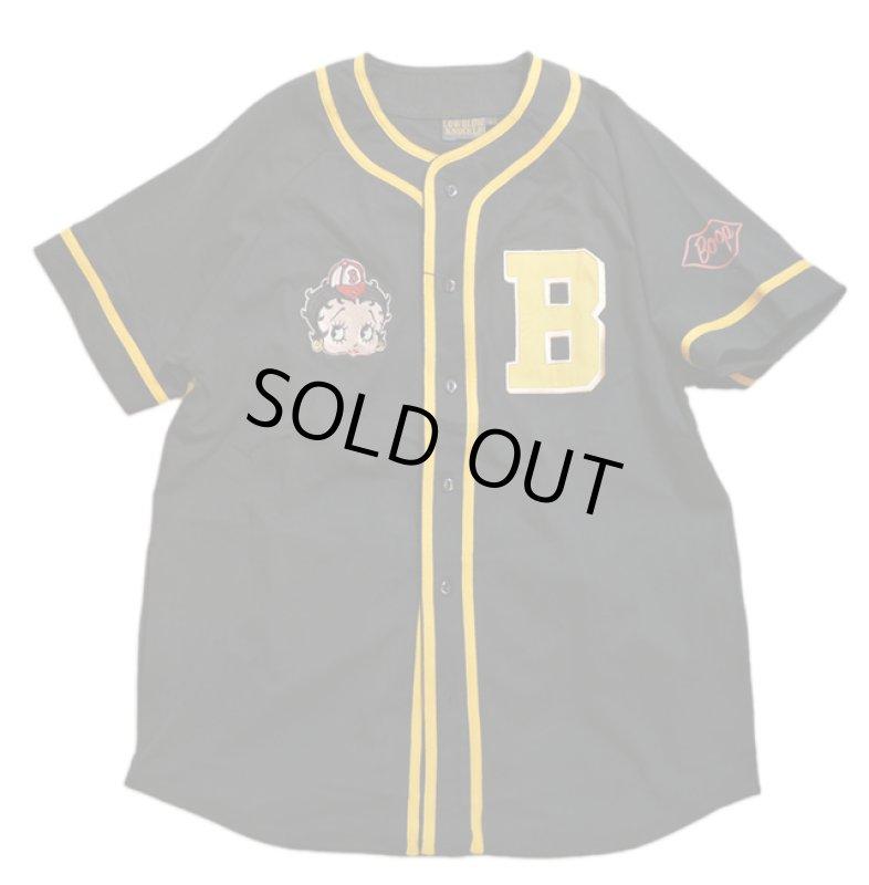 画像1: BETTY BOOP × LOWBLOW KNUCKLE コラボ  ベースボールシャツ 529410 (カットソー) ブラック (1)