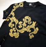 画像4: LIN (リン) 黒猫Lamy &ネズミEarl 唐草かくれんぼ プリント 刺繍 Tシャツ  ATL-75002 (4)