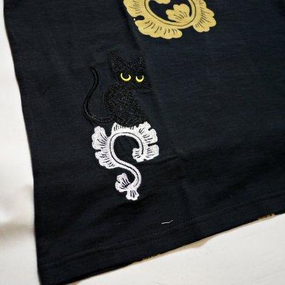 画像3: LIN (リン) 黒猫Lamy &ネズミEarl 唐草かくれんぼ プリント 刺繍 Tシャツ  ATL-75002