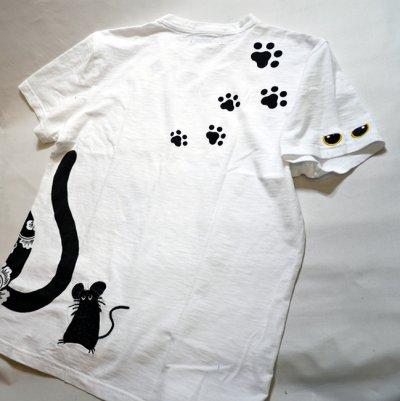 画像3: LIN (リン) 黒猫のLamy とネズミのEarl プリント 刺繍 Tシャツ  ATL-75001