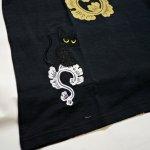 画像5: LIN (リン) 黒猫Lamy &ネズミEarl 唐草かくれんぼ プリント 刺繍 Tシャツ  ATL-75002 (5)