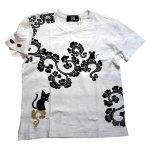 画像9: LIN (リン) 黒猫Lamy &ネズミEarl 唐草かくれんぼ プリント 刺繍 Tシャツ  ATL-75002 (9)
