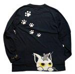 画像2: LIN (リン) [黒猫Lamy &ネズミEarl  ] 長袖Tシャツプリント 刺繍   ALLT-75005 ブラック (2)
