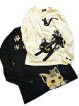 画像8: LIN (リン) [黒猫Lamy &ネズミEarl  ] 長袖Tシャツプリント 刺繍   ALLT-75005 ブラック (8)