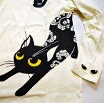 画像3: LIN (リン) [黒猫Lamy &ネズミEarl  ] 長袖Tシャツプリント 刺繍   ALLT-75005 オフホワイト (3)