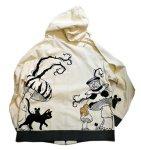 画像2: LIN (リン) [黒猫Lamy &ネズミEarl  ] 不思議の国のラミ&アール ジップパーカー 刺繍  ALP-75010 (2)