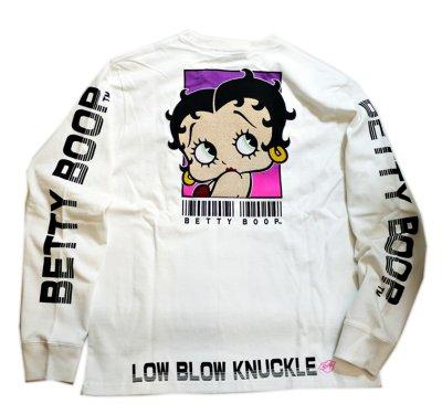 画像1: BETTY BOOP × LOWBLOW KNUCKLE コラボ [ バーコードBETTY ] 刺繍 長袖Tシャツ 530867
