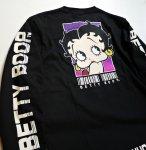 画像4: BETTY BOOP × LOWBLOW KNUCKLE コラボ [ バーコードBETTY ] 刺繍 長袖Tシャツ 530867 (4)