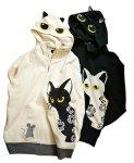 画像8: LIN (リン) [黒猫Lamy &ネズミEarl  ] ラミ&アール ジップパーカー 猫耳パーカー  ALP-75011  ブラック (8)