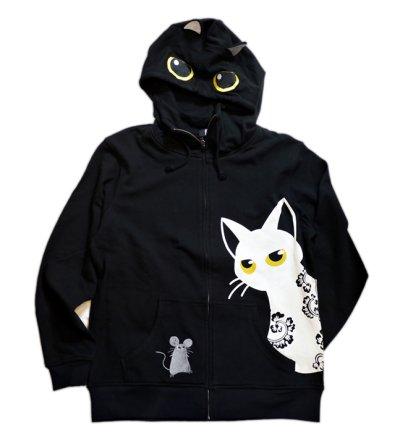 画像1: LIN (リン) [黒猫Lamy &ネズミEarl  ] ラミ&アール ジップパーカー 猫耳パーカー  ALP-75011  ブラック