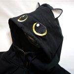 画像5: LIN (リン) [黒猫Lamy &ネズミEarl  ] ラミ&アール ジップパーカー 猫耳パーカー  ALP-75011  ブラック (5)