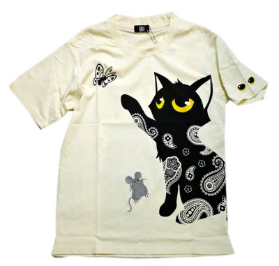 画像1: LIN (リン) 黒猫Lamy &ネズミEarl  蝶が気になるラミ&アールTシャツ  プリント 刺繍 Tシャツ  ATL-75014