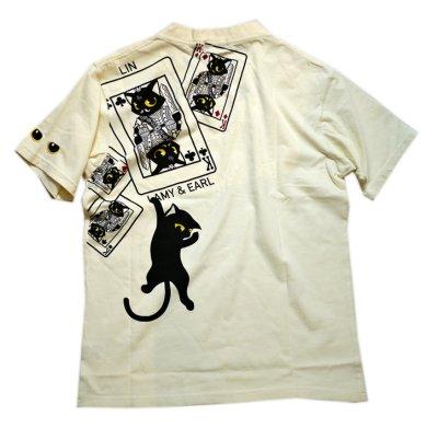 画像3: LIN (リン) 黒猫Lamy &ネズミEarl  キングラミTシャツ プリント 刺繍 Tシャツ  ATL-75016