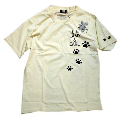 画像2: LIN (リン) 黒猫Lamy &ネズミEarl  キングラミTシャツ プリント 刺繍 Tシャツ  ATL-75016