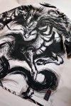 画像5: 絡繰魂  -中塚-   墨絵プリント アロハシャツ 「麒麟」212844 (5)
