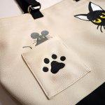 画像5: LIN (リン) 黒猫Lamy &ネズミEarl  PUレザー トートバック AL-7581 (5)