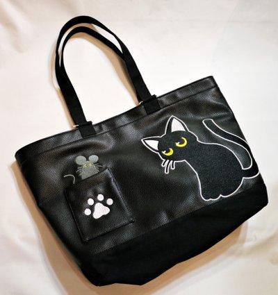 画像2: LIN (リン) 黒猫Lamy &ネズミEarl  PUレザー トートバック AL-7581