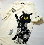 画像8: LIN (リン) 黒猫Lamy &ネズミEarl  蝶が気になるラミ&アールTシャツ  プリント 刺繍 Tシャツ  ATL-75014 (8)