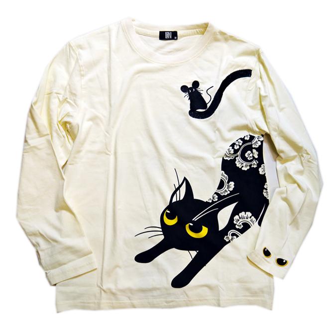 画像1: LIN (リン) [黒猫Lamy &ネズミEarl  ] 長袖Tシャツプリント 刺繍   ALLT-75005 オフホワイト (1)