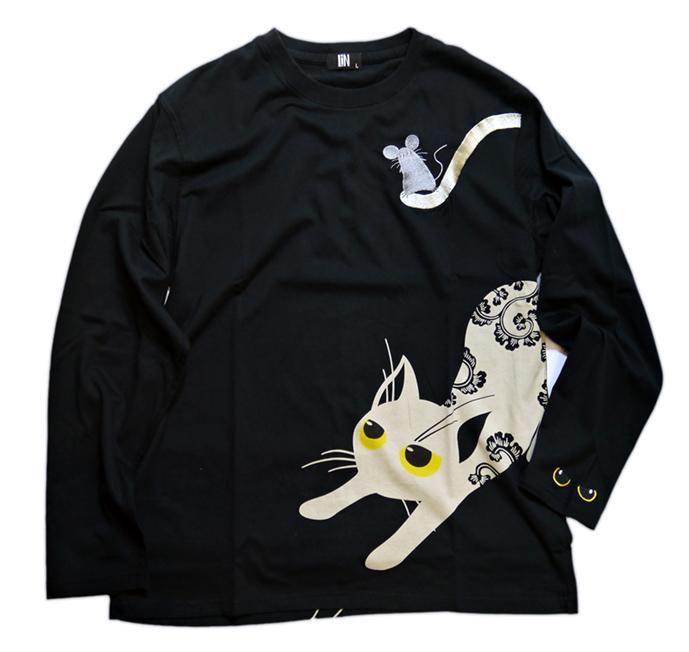 画像1: LIN (リン) [黒猫Lamy &ネズミEarl  ] 長袖Tシャツプリント 刺繍   ALLT-75005 ブラック (1)