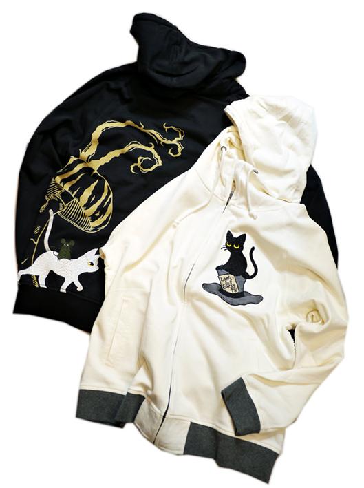 画像1: LIN (リン) [黒猫Lamy &ネズミEarl  ] 不思議の国のラミ&アール ジップパーカー 刺繍  ALP-75010 (1)