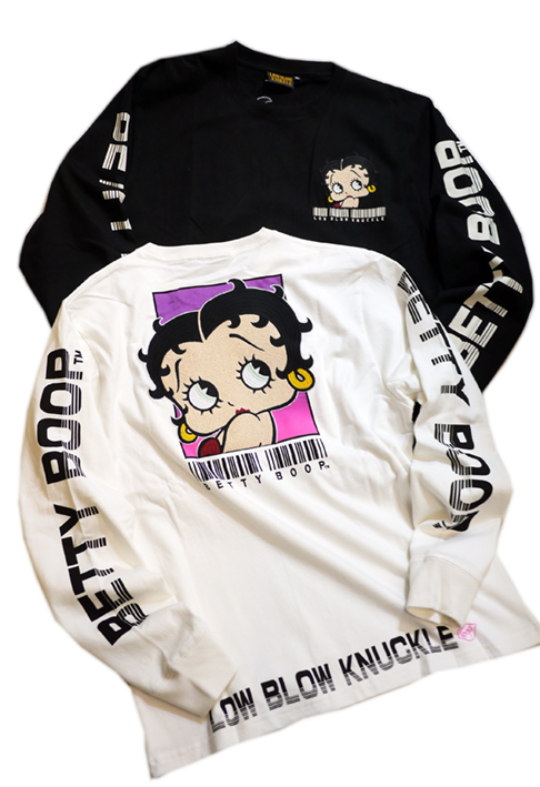 画像1: BETTY BOOP × LOWBLOW KNUCKLE コラボ [ バーコードBETTY ] 刺繍 長袖Tシャツ 530867 (1)