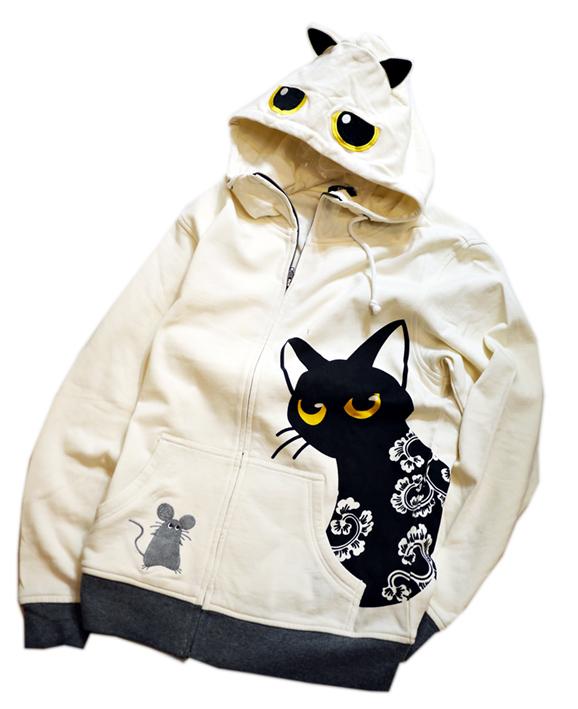 画像1: LIN (リン) [黒猫Lamy &ネズミEarl  ] ラミ&アール ジップパーカー 猫耳パーカー  ALP-75011 オフホワイト (1)