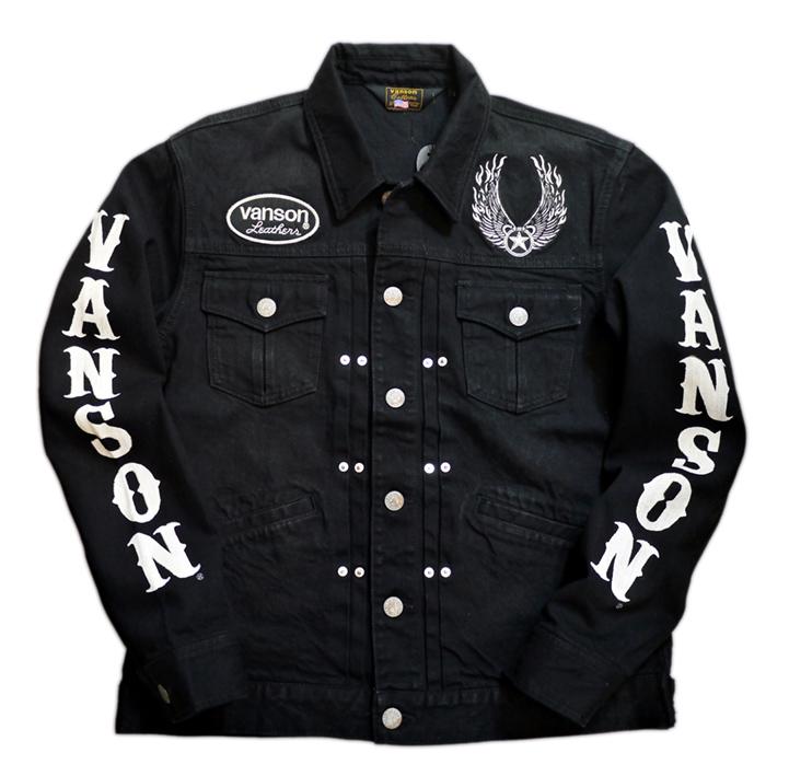 画像1: vanson (バンソン)アメリカンイーグル刺繍 Gジャン NVSL-2102 ブラック (1)