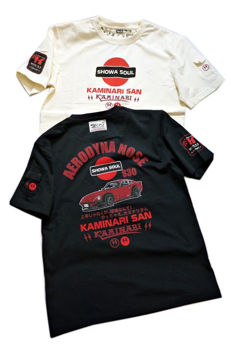 画像1: Kaminari カミナリ 「 S30 (やっちゃえ、カミナリさん) 」  半袖Tシャツ KMT-216 (1)