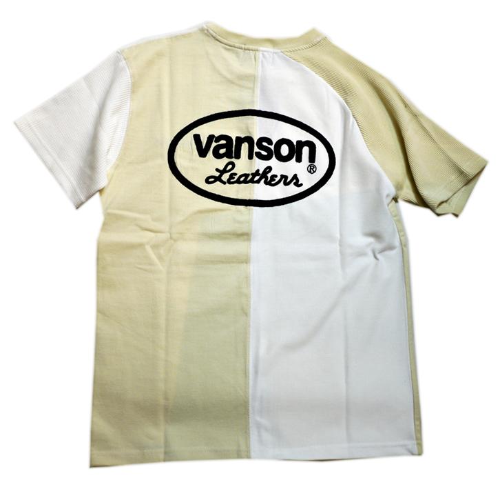 画像1: VANSON (バンソン) クレイジーTシャツ 刺繍  NVST-2113 ナチュラル/オフホワイト (1)
