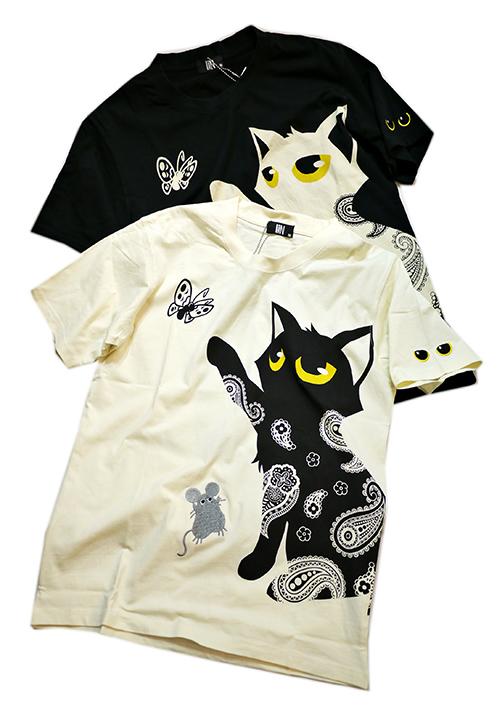 画像1: LIN (リン) 黒猫Lamy &ネズミEarl  蝶が気になるラミ&アールTシャツ  プリント 刺繍 Tシャツ  ATL-75014 (1)