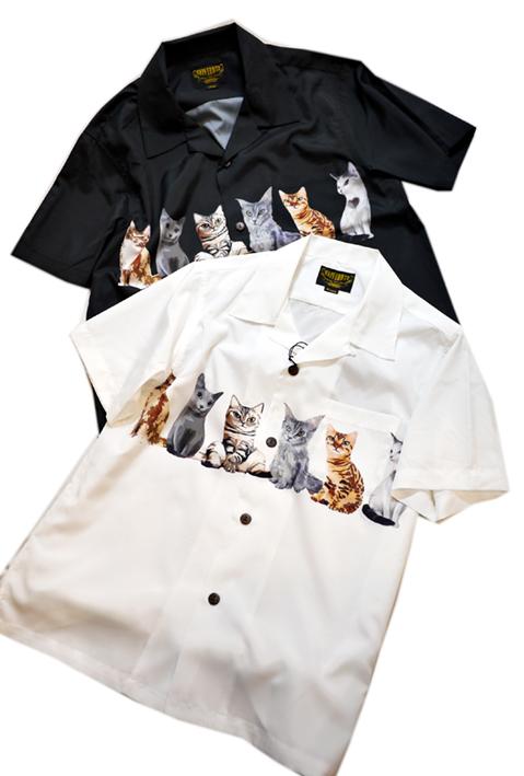 画像1: [ UNIVERD72(ユニバード72)]  猫プリント アロハシャツ 40836 ポリエステル (1)