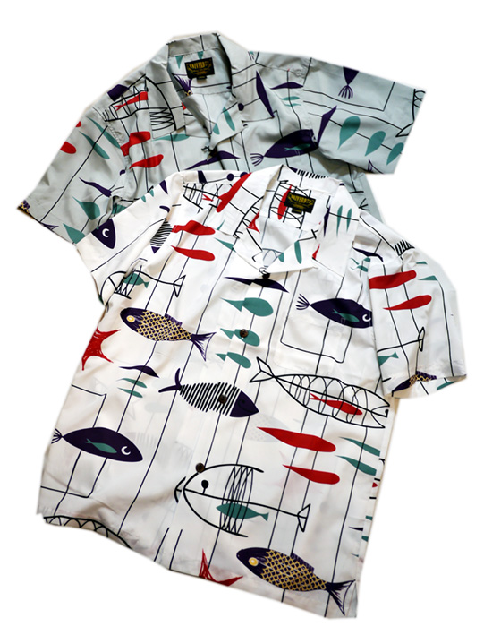 画像1: [ UNIVERD72(ユニバード72)]  FISHプリント アロハシャツ 40838 ポリエステル (1)