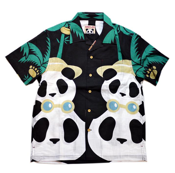 画像1: Pandiesta Japan (パンディエスタ) パネル柄 コットンアロハシャツ 551859  ブラック (1)