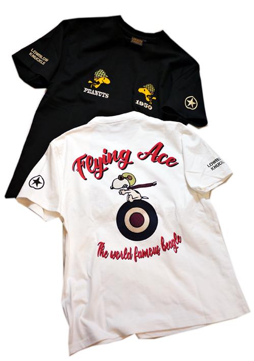画像1: PEANUTS SNOOPY × LOWBLOW KNUCKLE コラボ [ ACE ] 刺繍 プリント Tシャツ  551406 (1)